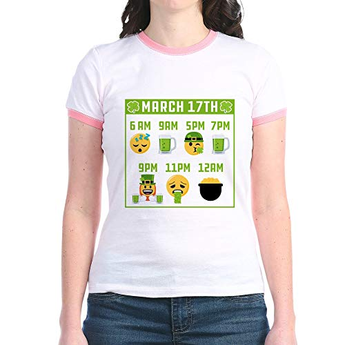 CafePress March 17Th Schedule Jr. Ringer T Shirt Jr. Ringer T-Shirt, Slim Fit 100% Cotton Ringed Shirt ()