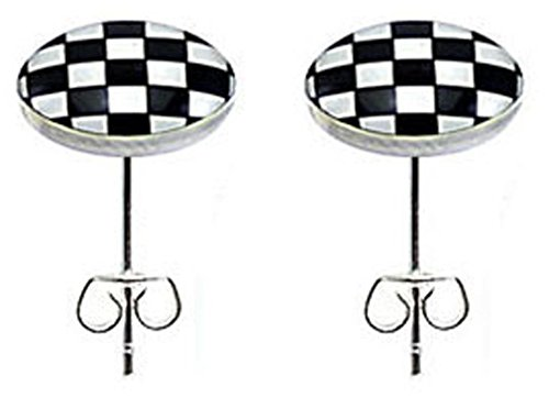 (trending jewels Stainless Steel Fashion Stud Earrings - Chequered Flag)