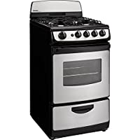 Danby DR201BSSGLP 20' Designer Series Freestanding Gas Range with 4 Open Burners 2.4 cu. ft. Oven Capacity Electronic Ignition Push and Turn Safety Knobs Porcelain Cooktop and 2 Ove