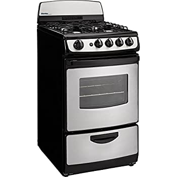 "Danby DR201BSSGLP 20"" Designer Series Freestanding Gas Range with 4 Open Burners 2.4 cu. ft. Oven Capacity Electronic Ignition Push and Turn Safety Knobs Porcelain Cooktop and 2 Ove"