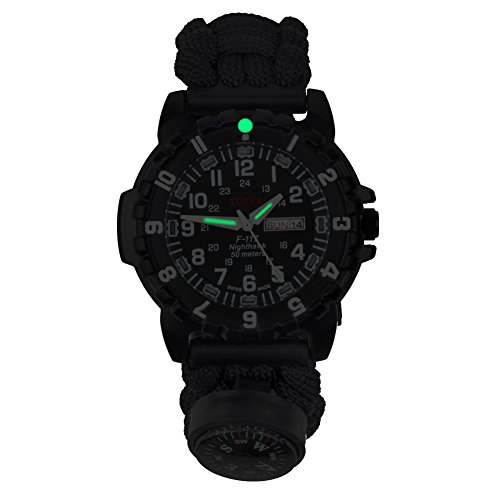 YIDULA-Outdoor-Military-Survival-Gear-Sports-Waterproof-Watch-for-Men-Women-Army-Paracord-Bracelets-Hiking-Camping-Watches-Wrist-Compass-Whistle-Fire-Starter-Adjustable-Glows