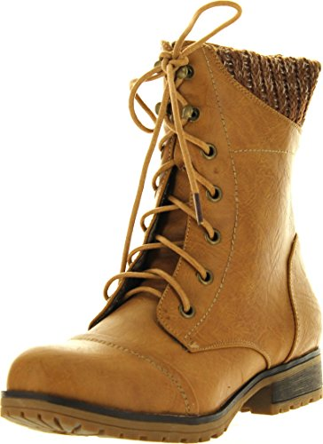 Refresh Womens Wynne-06 Combat Flat Style Lace Up Back Zipper Mid-Calf Bootie,Tan,10 ()