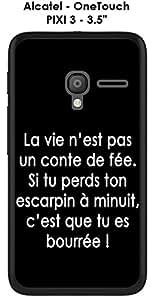 """Carcasa Alcatel OneTouch Pixi 3–3.5""""Design citación"""" la vida no es texto color blanco fondo negro"""