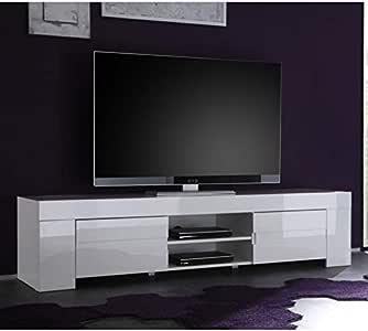 Tousmesmobili - Mueble para televisor (2 Puertas, Lacado Blanco Brillante, 191 x 50 x 45 cm): Amazon.es: Hogar