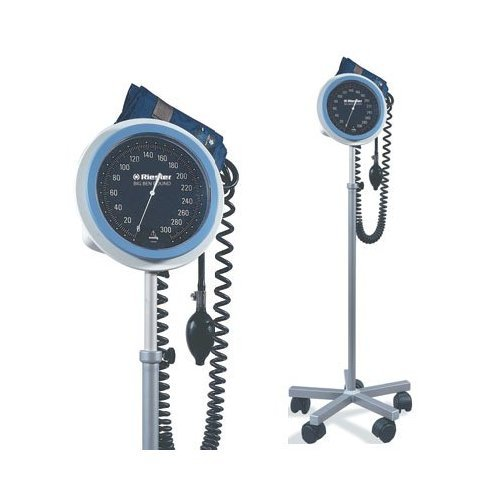 Professional Blood Pressure Monitor large, easy-to-read, 6'' (15cm) faceplate with white numerals on solid background. Molded casing encloses a nonstop pin, 300 mmHg gauge. LIFETIME calibration warranty +/- 3 mmHg. 6-foot coiled tubing. Deluxe air release
