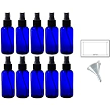 4 oz Cobalt Blue Glass Boston Round Fine Mist Spray Bottle (10 pack) + Funnel and Labels for essential oils, aromatherapy, food grade, bpa free