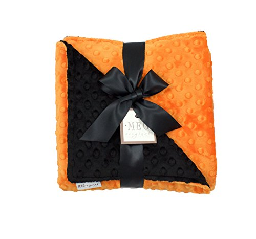 MEG Original Minky Dot Halloween Baby Blanket, Orange & Black -