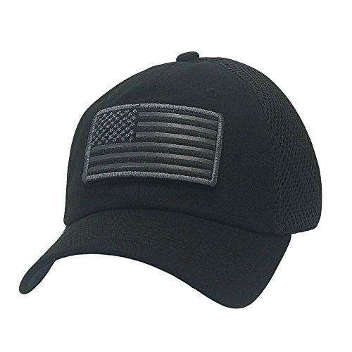 The Hat Jungle USA American Flag Patch Tactical Hat Mesh Back Adjustable Baseball Cap,Black