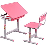 Kids Height Adjustable Desk Chair Set Art Study Work Station, Pink + FREE E-Book