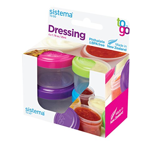 Sistema To Go Collection Dressing Food Storage Containers, 1.1 Ounce, Assorted Colors, Set of 4 (Dressing Salad Ingredients)