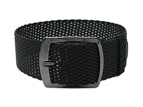 HNS 22mm Black Perlon Tropic Braided Woven Watch Strap with PVD Buckle