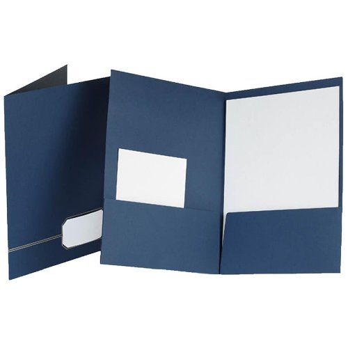 - Oxford : Monogram Series Business Portfolio, Cover Stock, Blue/Gold, Four per Pack -:- Sold as 2 Packs of - 4 - / - Total of 8 Each