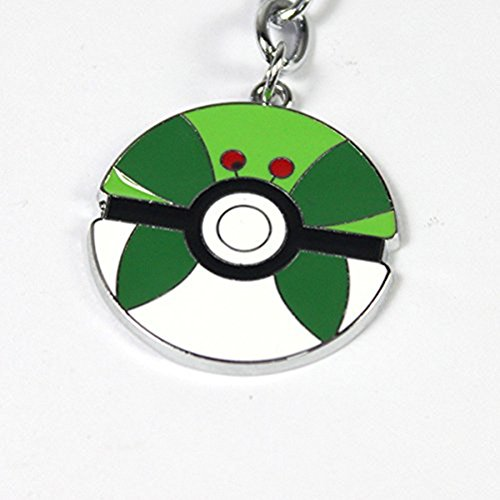 Pokemon Pokeball Necklace Pendant (White, Dark and White Green (Park Ball))