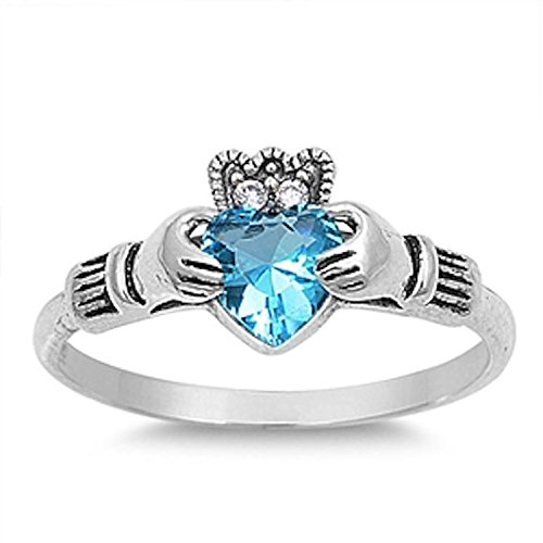 925 Sterling Silver Vintage Irish Claddagh Crown Ring Heart Shape Simulated Blue Topaz Clear CZ ()