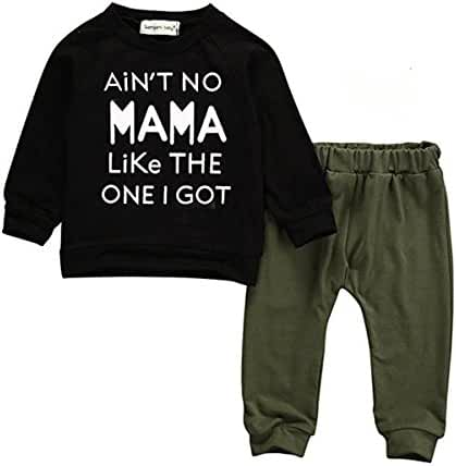 Baby Kids Toddler Boy Printed Tops Pants Leggings Outfits Clothes Set 0-3 Y (0-6 Months, Black)