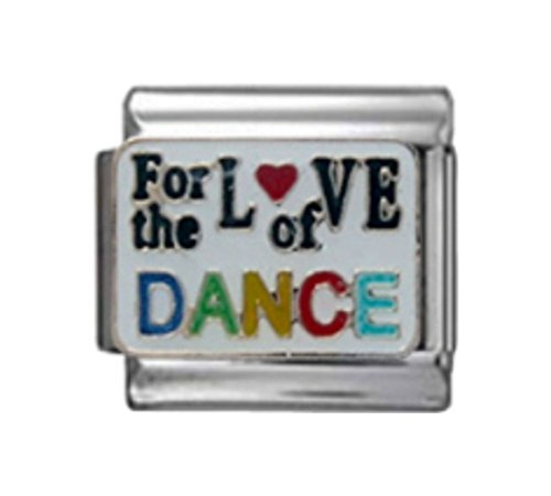 DANCE FOR THE LOVE OF Enamel Italian Charm 9mm Link - 1 x MD047 Single Bracelet Link