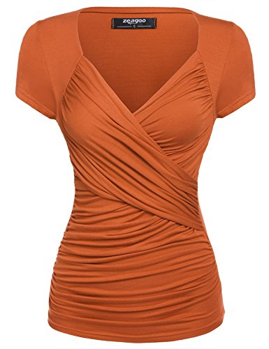 on Ruched Deep V Neck Sexy Blouse Tops Ruched Shirts,Orange,Medium ()