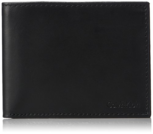 Calvin Klein Men's RFID Blocking Leather Bifold Wallet with Key Fob, Black, One Size