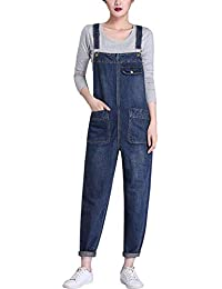 Women's Casual Denim Bib Cropped Overalls Pant Jeans...
