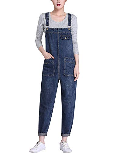 Yeokou Women's Casual Denim Cropped Harem Overalls Pant Jeans Jumpsuits, Blue, X-Large by Yeokou
