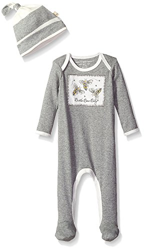 Burt's Bees Baby Baby Organic Footed Coverall and Hat Set, Heather Grey Bees Patch, (Le Top Boys Coverall)