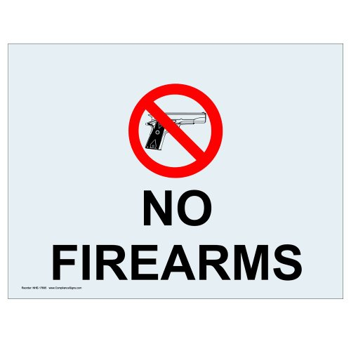 ComplianceSigns Clear Vinyl Weapons Restricted Label, 5 x 3.5 in. with English, 4-Pack