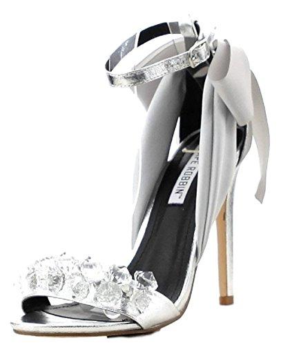 CAPE ROBBIN Lola-19 Satin Bow Rhinestone Stiletto High Heel Sandal Shoe Silver (10, Silver) -