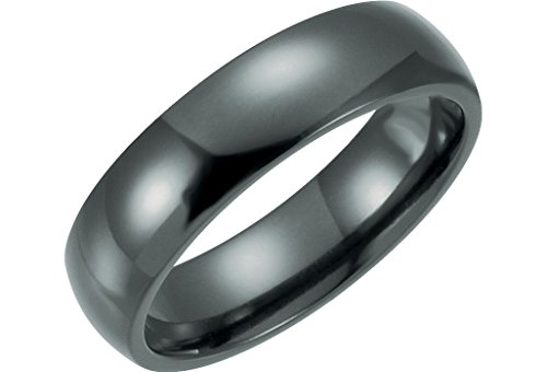 6mm Black Titanium Comfort Fit Dome Band Size 13 by The Men's Jewelry Store
