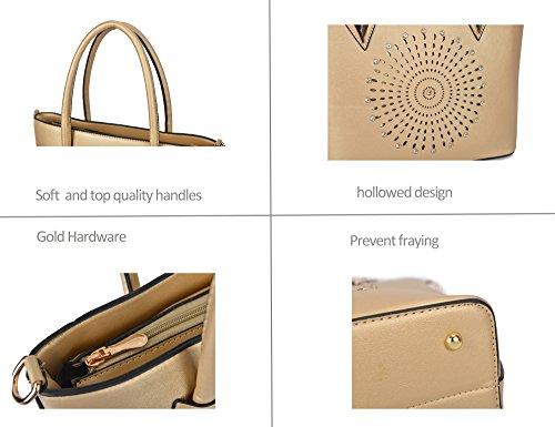 Gift Purse Leather Piece Bag Faux Bag Gold Set Hobo Satchel Clutch Messenger 3 Handbag Women 4q5xwRA75