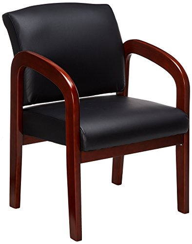 Lorell Guest Chair, 23 by 25-1/2 by 33-1/2-Inch, Black/Cherry Frame