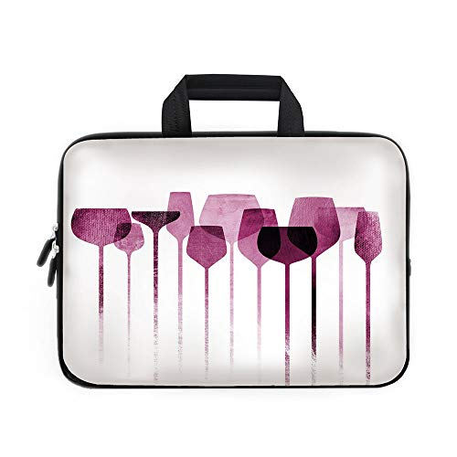 Wine Laptop Carrying Bag Sleeve,Neoprene Sleeve Case/Conceptual Collage Artwork with Paper Textured Party Glasses Alcohol Drink Print Decorative/for Apple Macbook Air Samsung Google Acer HP DELL Lenov