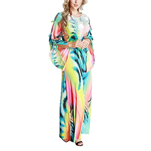 OULII Maxi Dress Dubai Kaftan Half Sleeve Arabic Long Dress Middle Eastern Style Robe Size 7XL