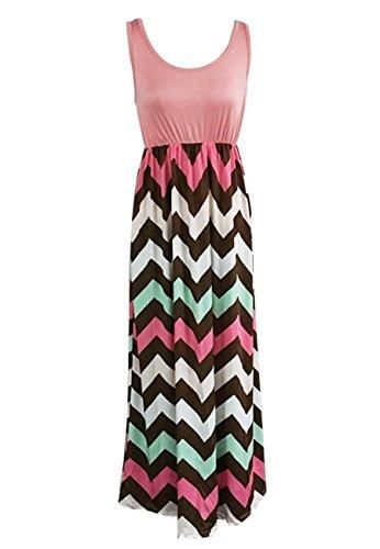 OMZIN Mujer Boho imperio Chevron Tank Top Casual Maxi vestido largo S-XXL Pink Green
