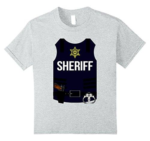 Ideas Halloween Costume Cop (Kids Sheriff Vest Halloween Costume Shirt - Cops Men Women Youth 10 Heather)