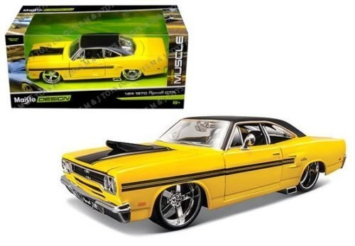 New 1:24 W/B CLASSIC MUSCLE - YELLOW 1970 PLYMOUTH GTX Diecast Model Car By Maisto