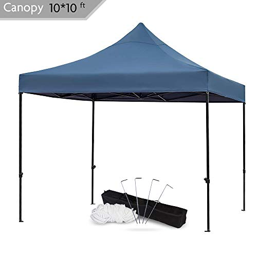Snail 10x10-FT Easy Pop up Canopy Tent with Heavy Duty 420D Waterproof and UV-Treated Cover, Shade for Beach Outdoor Commercial Tent Instant Sun Shelter Gazebo with Carrying Bag, Dark Blue