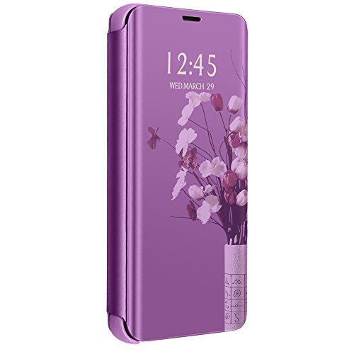 Slim Galaxy J2 ACE Case, Luxury Translucent View Window Front Function Mirror Screen Flip Electroplate Plating Stand Scratchproof Full Body Protective Case for Galaxy J2 ACE (4)