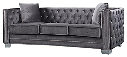 Meridian Furniture 648GRY S Reese Button Tufted Velvet Upholstered Sofa  With Square Arms, Silver
