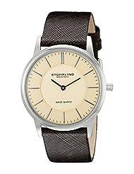 Stuhrling Original Men's Newberry Classic Swiss Quartz Beige Dial Watch 238.321K43