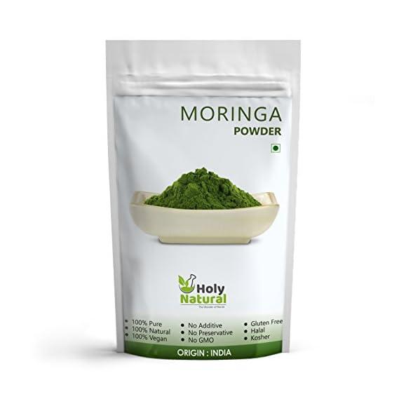Holy Natural Moringa Powder - 500 Gm   100 % Pure and Natural, Vegan.  No Additive, No Preservative, No GMO.  Gluten Free, Halal Certified, Kosher Certified.  Origin of India.