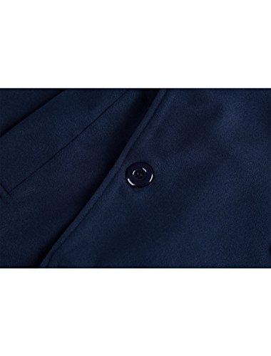 Uomini K Autunno Manica Petto Cappotto Navy Blu Doppio Uxcell Convertibile Collare Lunga Allegra qEwx6F