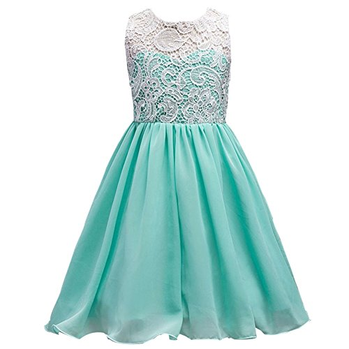 Double Layer Frocks (WAFUNNE Girls Lace Chiffon Dress for Weddding Party Seafoam Green)