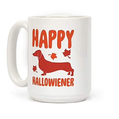 LookHUMAN Happy Hallowiener Dachshund Parody White 15 Ounce Ceramic Coffee Mug