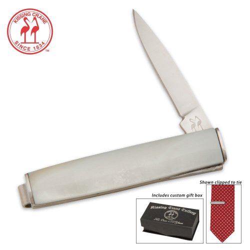 Kissing Crane Tie Money Clip Knife Imitation Pearl in Box, Outdoor Stuffs