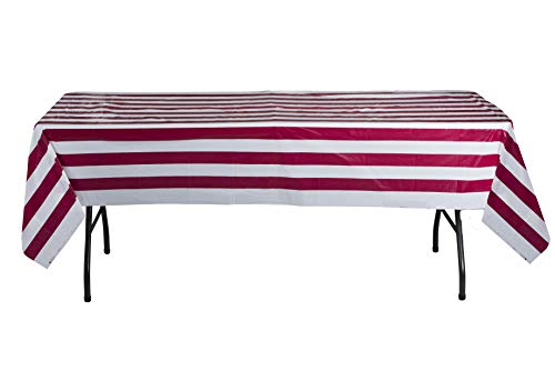 Hammont Red and White Striped Carnival Table Cloth - Circus Theme Table Cover Ideal for Family Dinner, Birthday and Christmas Parties (4 Pack)]()