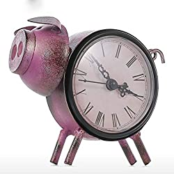 Vintage Metal Clock Home Decoration Statue Animal Sculpture Accessories Practical Art Craft Pig Ornament Birthday Gift