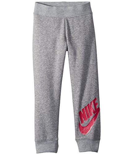 Nike Kids Baby Girl's Sportswear Futura Fleece Jogger (Toddler) Dark Grey Heather/Rush Pink 4T (Girls Nike Sweatpants)