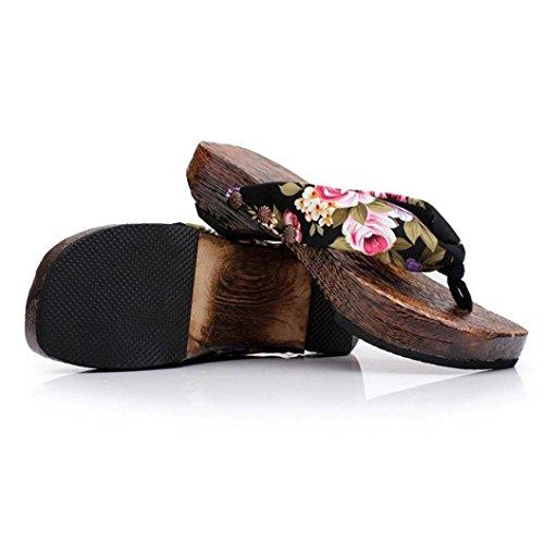 Sandalias de mujeres sandalias de RETUROM Mujer mujer sandalias para verano sandalias de chanclas sandalias cu madera sandalias verano de bohemia sexy sandalias de las Negro a de flip 7Sw7Fqr