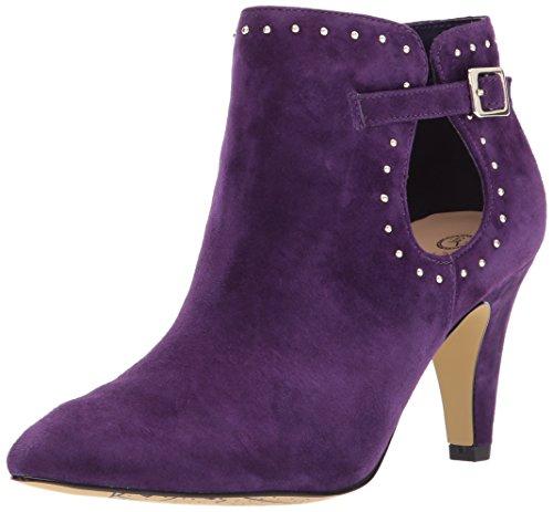 Bella Vita Women's Delfina Ankle Bootie, Eggplant Kid Suede, 8 W (Purple Suede Booties)