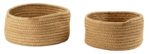 Woven Storage Baskets - 2-Pack Hemp Rope Baskets, Decorative Hampers, Collapsible Rope Storage Bins for Toys, Towels, Blankets, Nursery, Kids Room, 2 Sizes, Brown (Woven Hemp)
